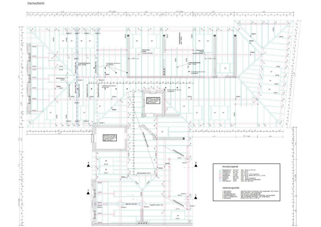 Übersicht der zu erneuernden Bauteile im Dachgeschoss